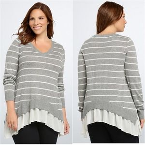 Stripe V Neck Chiffon Hem Layered Sweater